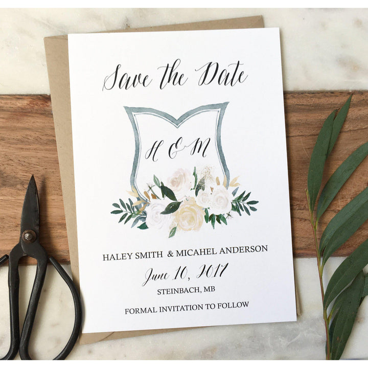 Elegant Wedding Crest Save the Date