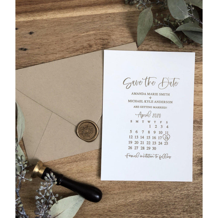 Simple Letterpress Save the Date