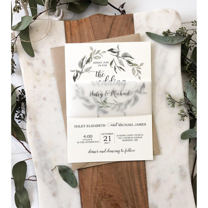 Modern Greenery Wedding Invitation Vellum Belly Band Love