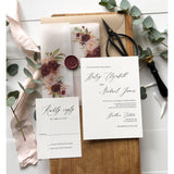 Marsala Floral Translucent Wedding Invitation