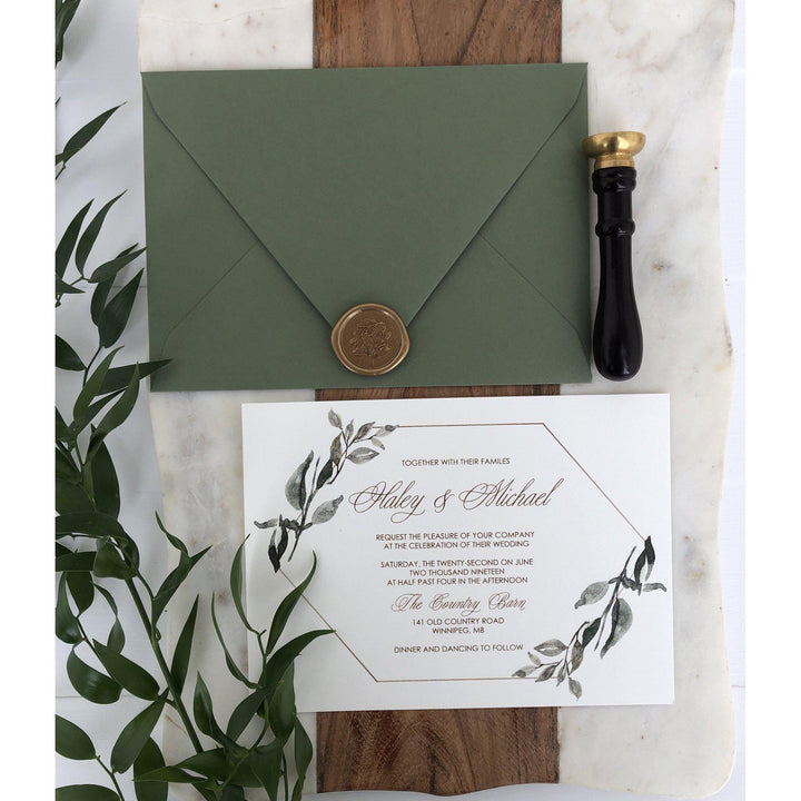 Greenery and Gold Elegant Wedding Invitation