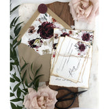Rustic Burgundy Floral Wedding Invitation