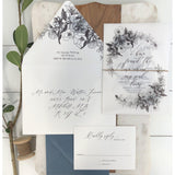 Elegant Botanical, Vellum Wrapped Wedding Invitation