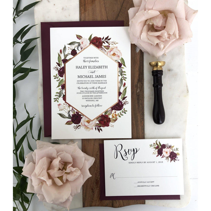 Floral Wedding Invitation, Marsala