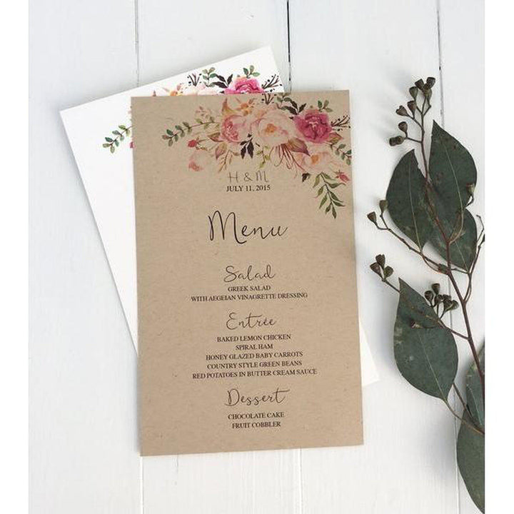 rustic wedding menu, floral wedding  menu