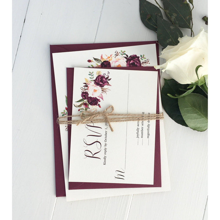 Rustic Marsala Wedding Invitation-Wedding Invitation Suite-Love of Creating Design Co.