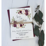 marsala wedding, save the date