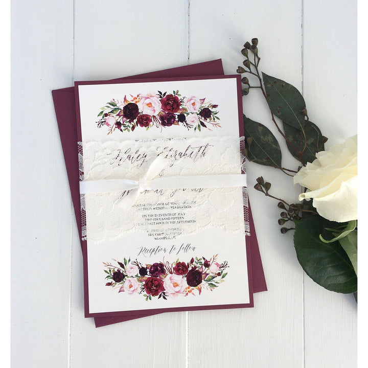 Elegant, Lace Wedding Invitation, Marsala Elegant, Burgundy Floral-Wedding Invitation Suite-Love of Creating Design Co.