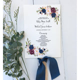 Floral Wedding Program Fan