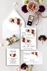 Burgundy and Blush Floral Wedding Invitation Suite Printable