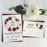 Marsala Floral Wedding Invitation-Wedding Invitation Suite-Love of Creating Design Co.