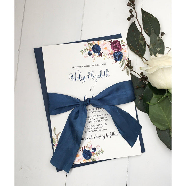 navy and burgundy wedding invitation