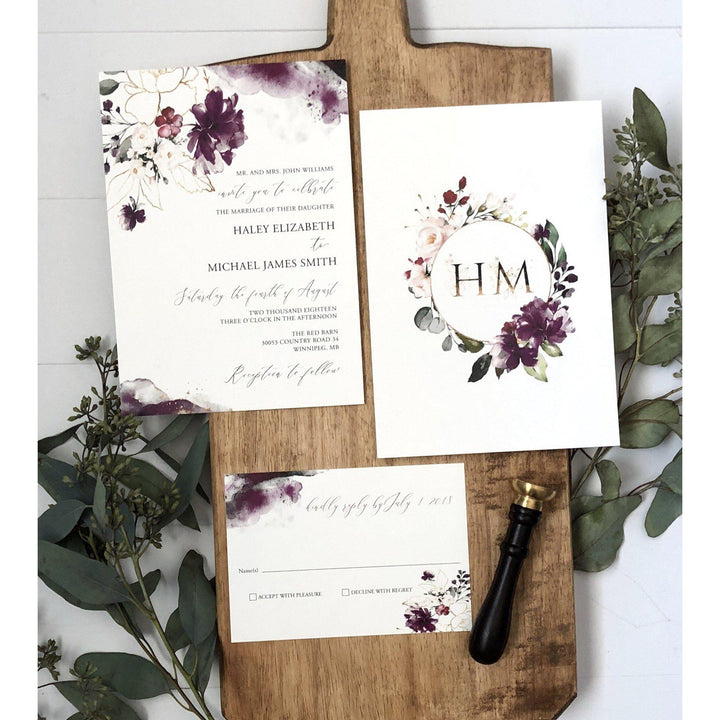purple floral watercolor modern wedding invitation