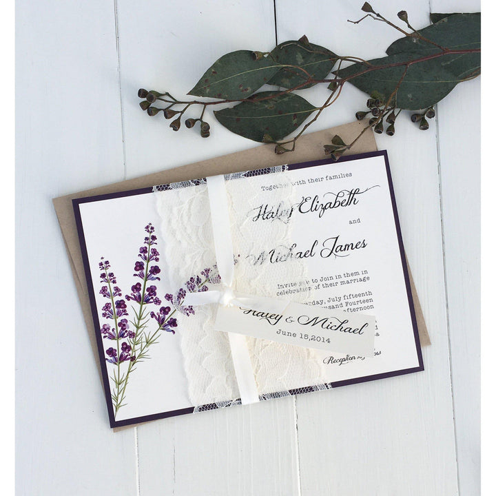 lavender wedding invitation, lace wedding invitation