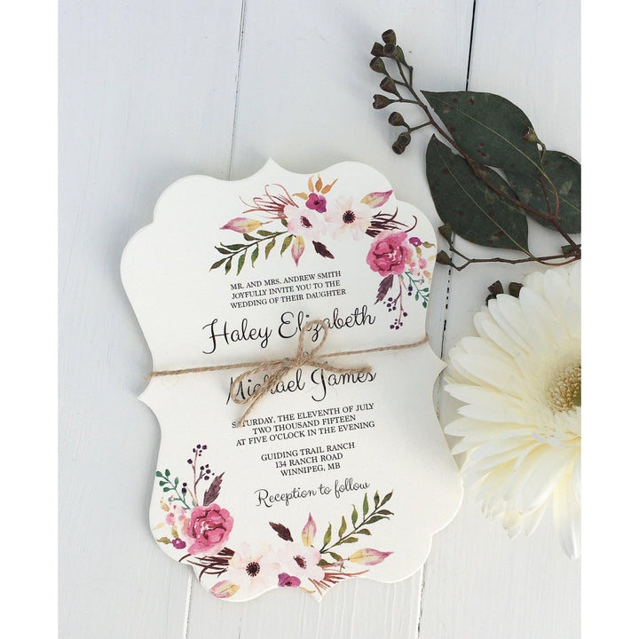 floral wedding invitation, rustic wedding,. boho chic, rustic invitation
