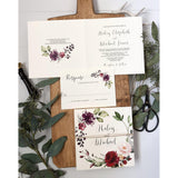 Vintage Floral Wedding Invitation, Rustic Boho Chic