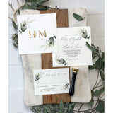 Greenery Wedding Invitation, Vintage botanical Invitation