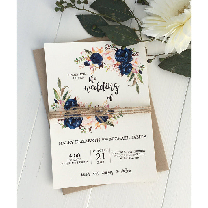 navy and pink wedding invitation