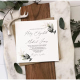 Modern Greenery Wedding Invitation, Gold and Botanical Greenery