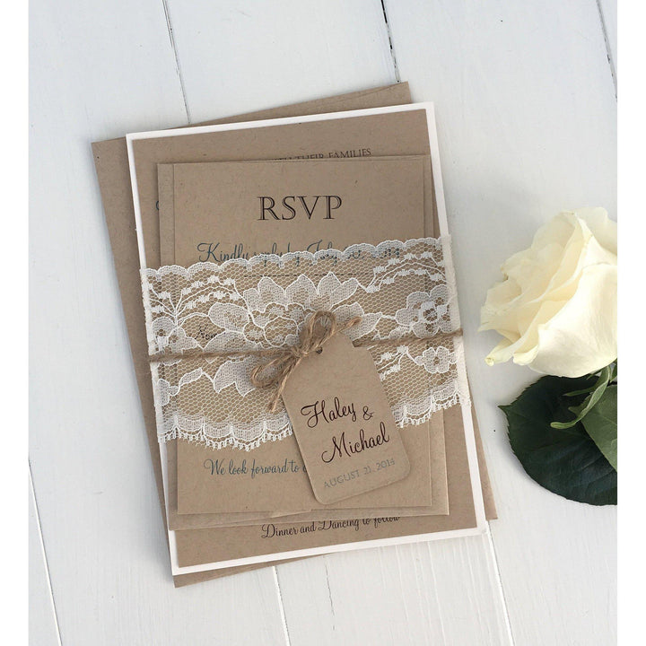 Rustic Kraft and Lace-Wedding Invitation Suite-Love of Creating Design Co.