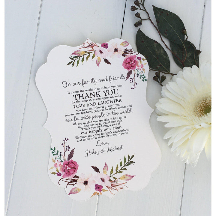 wedding thank you, floral wedding thank you, boho chic, wedding decor