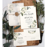 modern elegant floral wedding invitation