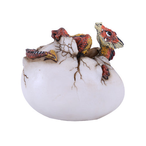 Happy Red Baby Dragon Hatching from Egg Statue - Gemwaith