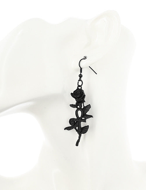 Black Rose Ankh Gothic Earrings - Gemwaith