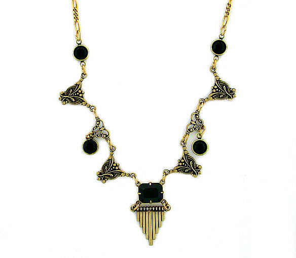 Vintage Inspired Art Deco Style Swarovski Crystal Necklace - Gemwaith