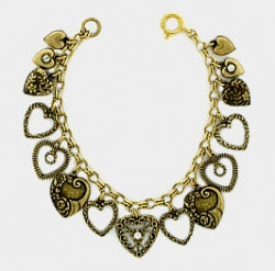 Victorian Style Vintage Hearts Charm Bracelet - Gemwaith