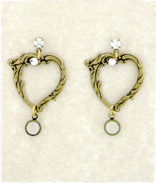 Victorian Style Open Heart Earrings - Gemwaith