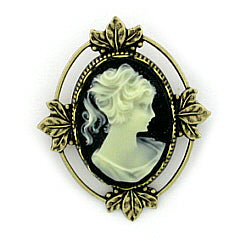 Vintage Inspired Victorian Style Jet Cameo Brooch Pin - Medium Brass - Gemwaith
