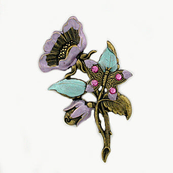 Hand Painted Vintage Flower Pin - Gemwaith
