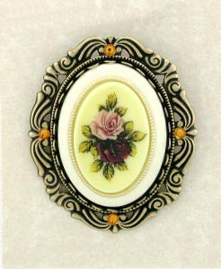 Vintage Inspired Porcelain/Flowers Cameo Brooch - Gemwaith