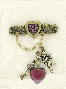 Cupids & Hearts Bar Pin with Swarovski Crystal Heart - Gemwaith