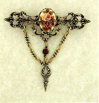 Vintage Inspired Porcelain/Flowers Cameo Filigree Bar Pin - Gemwaith