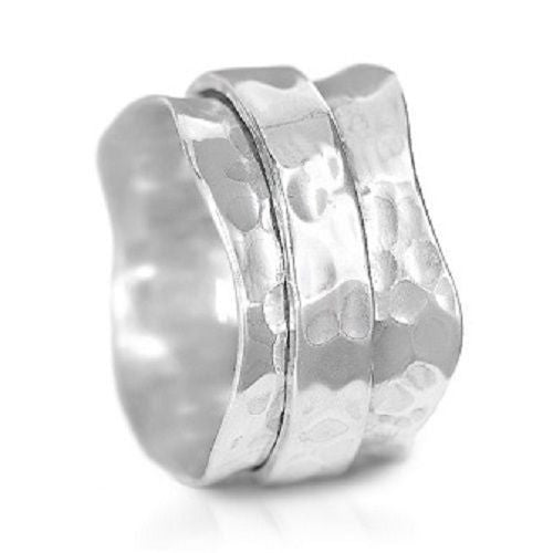 Handmade 925 Sterling Silver Hammered Wide Band Spinner Ring - Size 7.5 - Gemwaith