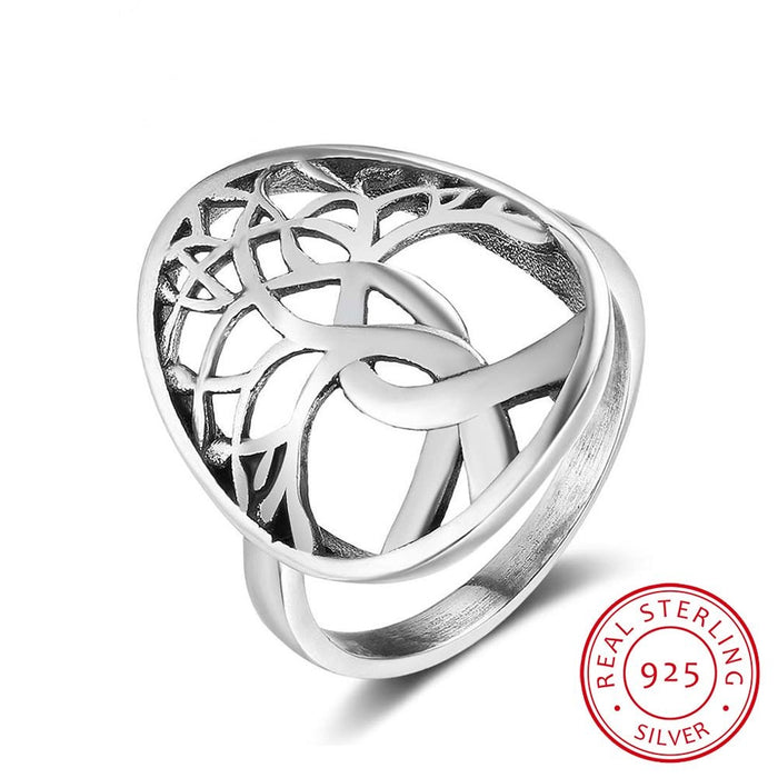 925 Sterling Silver Tree of Life Ring - Gemwaith