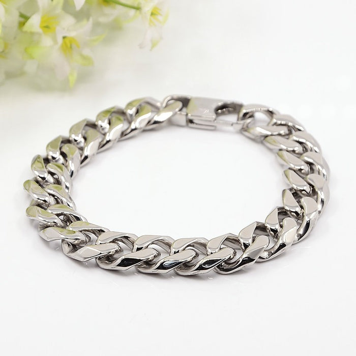 304L Stainless Steel Curb Bracelet - Gemwaith