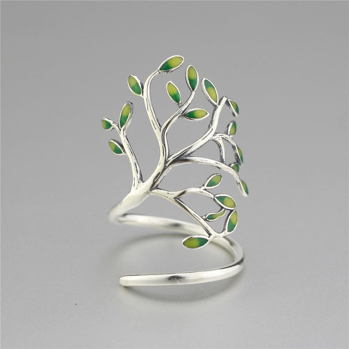 925 Sterling Silver Drop Glaze Leaf Adjustable Ring - Gemwaith