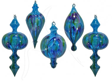 Handmade Blown Glass Bauble - Blue