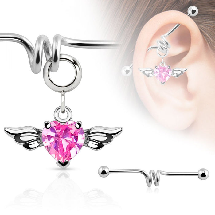 Multi Purpose Add-On CZ Gem Angel Wing Heart Dangle Charm