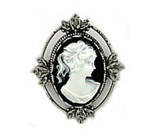 Vintage Inspired Victorian Style Jet Cameo Brooch Pin - Medium Antique Silver - Gemwaith
