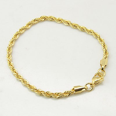 304L Stainless Steel Gold Colour Rope Chain Bracelet - Gemwaith