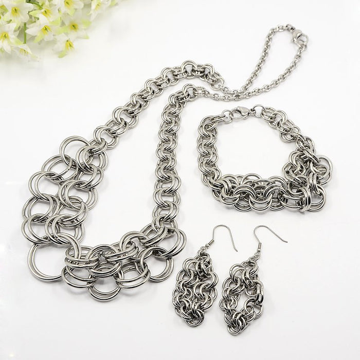 304L Stainless Steel Chainmaille Jewelry Set - Necklace, Bracelet and Earrings - Gemwaith