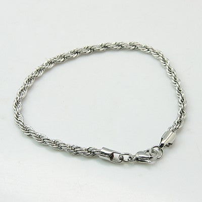 304L Stainless Steel Rope Chain Bracelet - Gemwaith