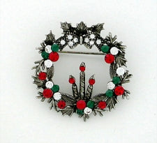 Vintage Inspired Swarovski Crystal Christmas Wreath with Candles Pin - Gemwaith