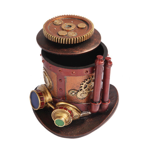 Mechanized Steampunk Top Hat Box - Gemwaith