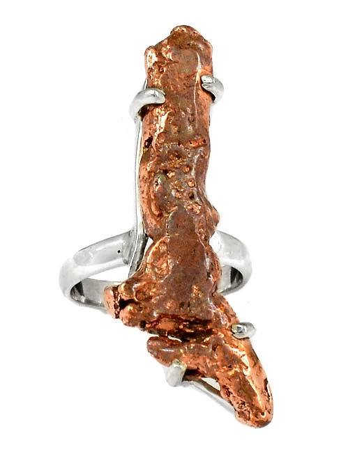 Handmade Michigan Copper Nugget Ring set in 925 Sterling Silver - Gemwaith