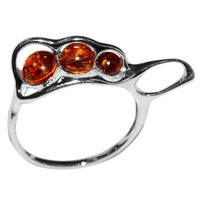 Genuine 925 Sterling Silver 2.3g Authentic Baltic Amber Ring - Gemwaith